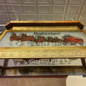Vintage Budweiser Rectangular Glass Pool Table Light