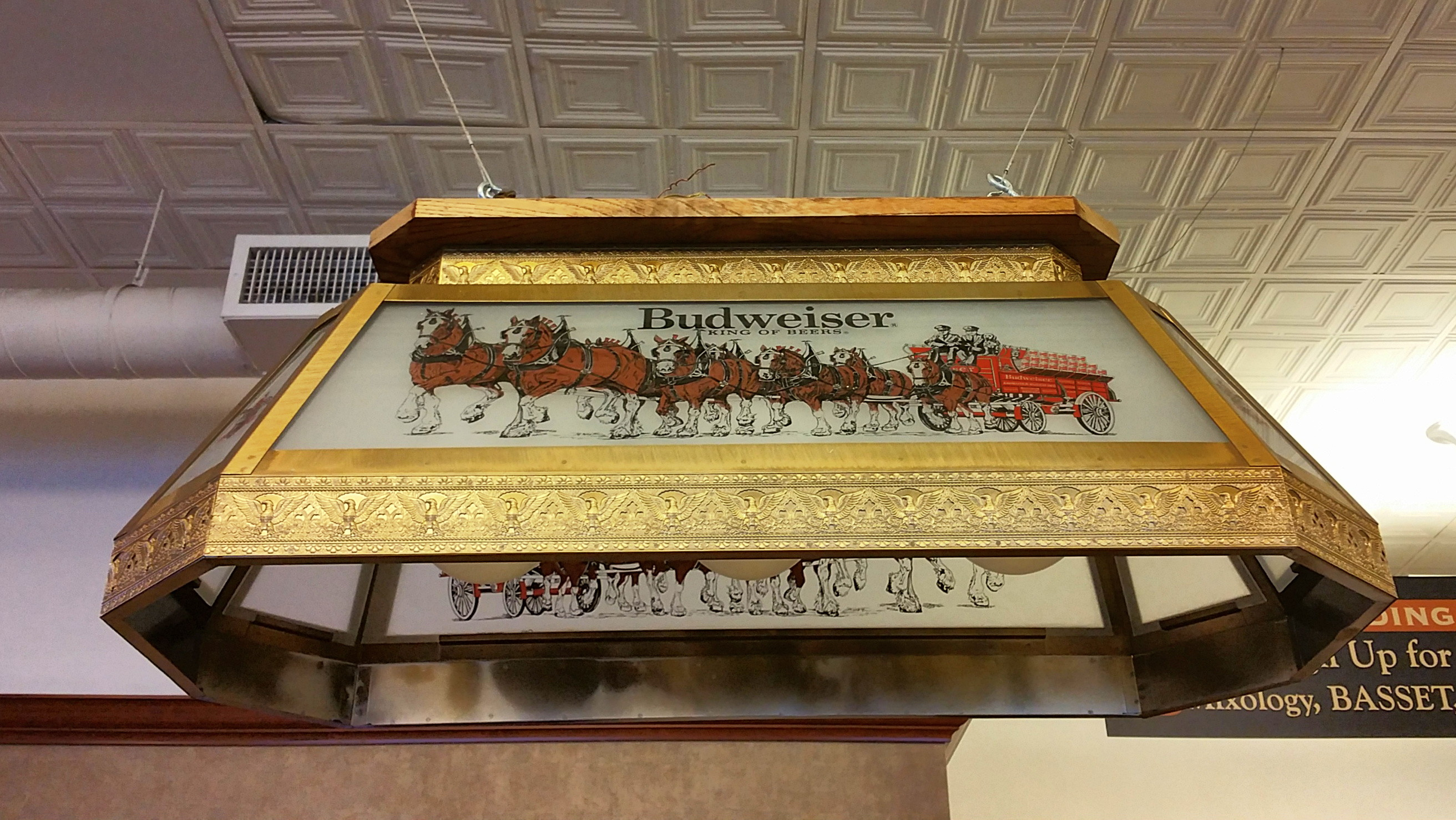Vintage Budweiser Rectangular Gl Pool Table Light