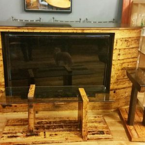 Reclaimed Wood Bar with Built-in Flat Screen